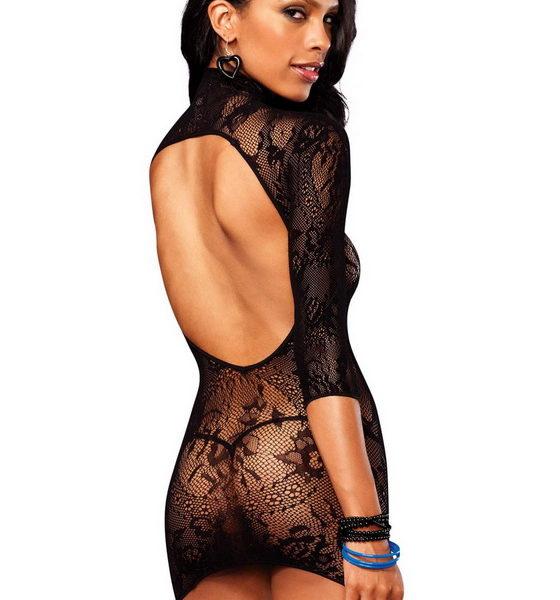 Fekete, csipkés mini ruha, virágmintával, Leg Avenue