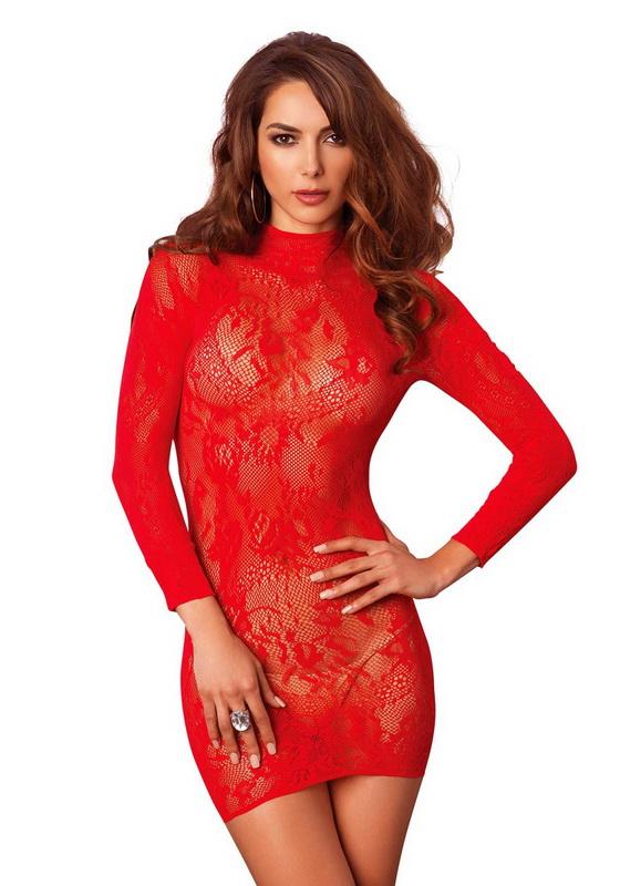 Piros mini ruha, virágmintás, nyitott hátrésszel, Leg Avenue