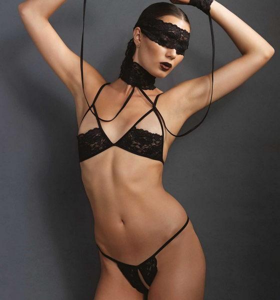 Fekete, szexi bandázs szett, 4 darabos, Leg Avenue