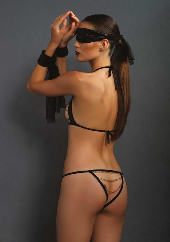 Fekete bandázs láncos fehérnemű szett, 4 darabos, Leg Avenue