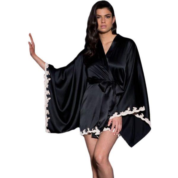 Kimono jellegű, fekete hálóköpeny