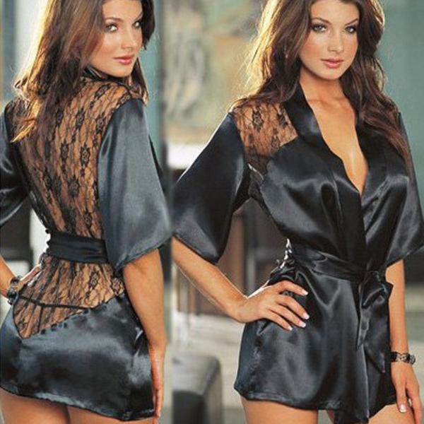 Fekete hálóköpeny, csipkés, XL