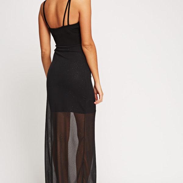 Ujjatlan fekete hosszú ruha, alul áttetsző réteggel