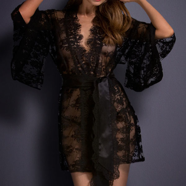 Fekete csipke kimono hálóköpeny,