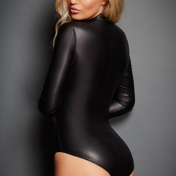 Fekete bőrhatású zipzáros body,