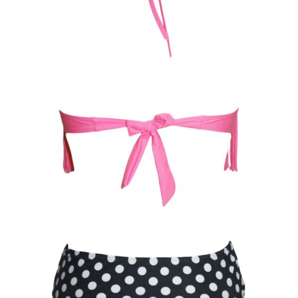 Bikini fürdőruha, pöttyös alsórész, pink, rojtos felsővel