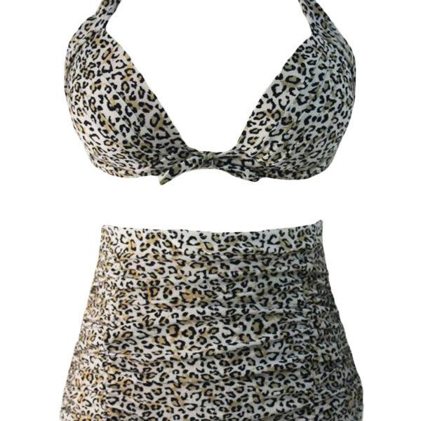 Leopárd mintás fürdőruha, 2 részes bikini, magas derekú alsóval