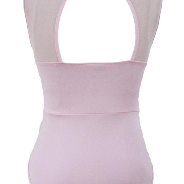 Csipkés magasnyakú pink body,