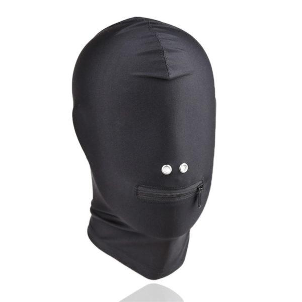 Fekete rugalmas bandázs fejmaszk, cipzározható szájrésszel