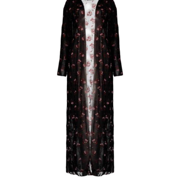 Liz maxi kimono, fekete, virágmintás,