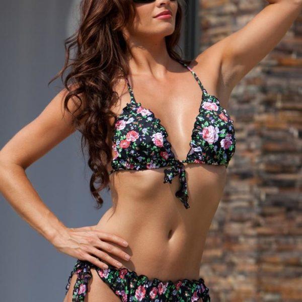 Gypsy fodros-virágmintás bikini felső