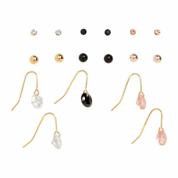 9 pár fülbevaló, fekete/aranyszín