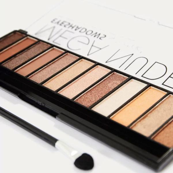 Mega Nudes 3, 12 natúr szín, szemhéjfesték készlet, ecsettel