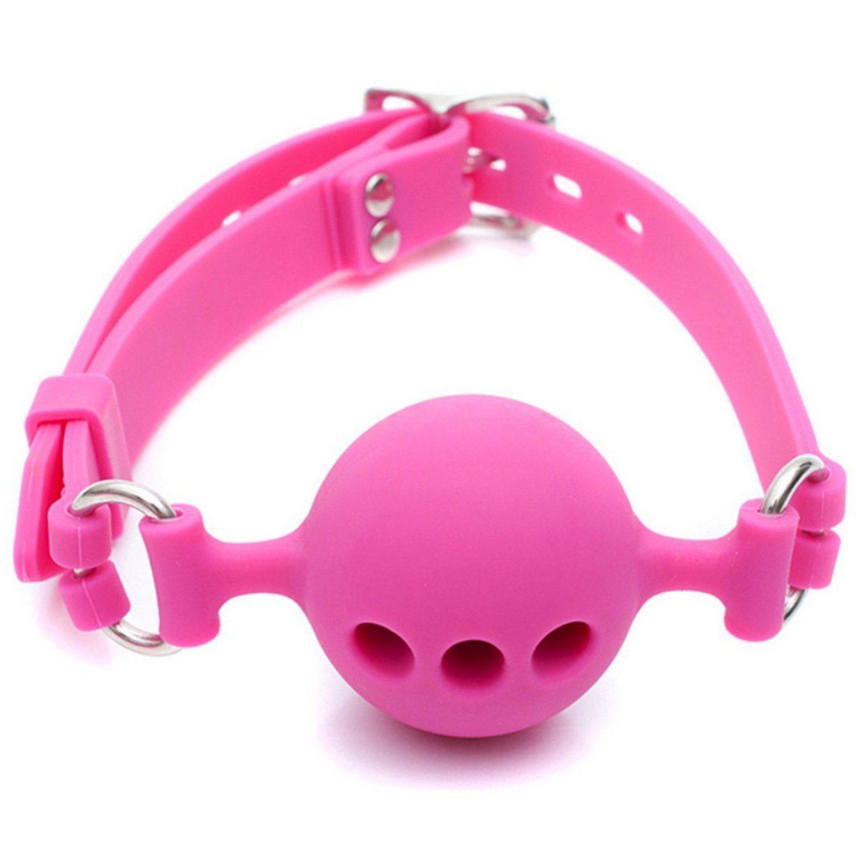 Pink szilikon szájgolyó, állítható pánttal