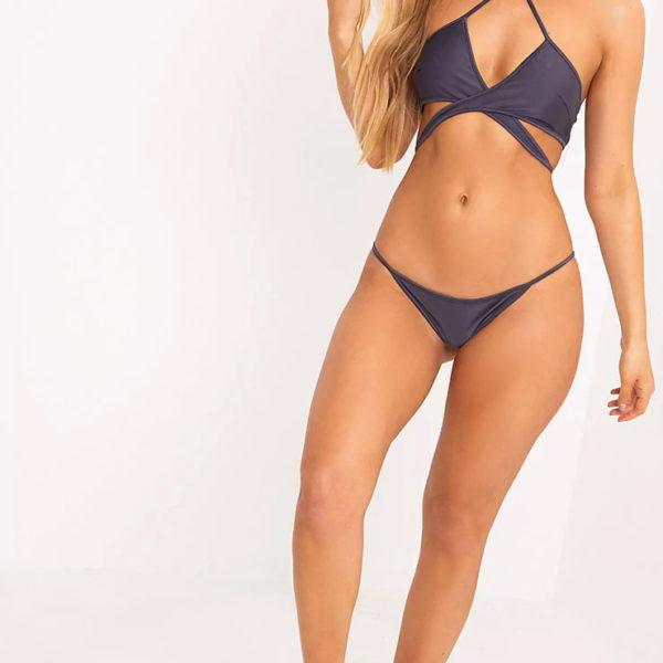 Szürke körbefonódó bikinifelső,