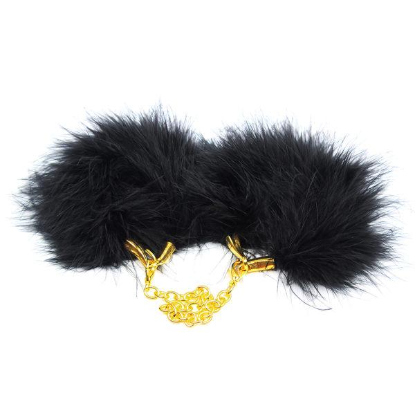 Szexi fekete tollas bilincs, aranyszínű lánccal