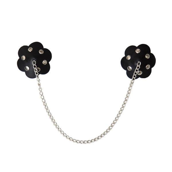 Láncos fekete mellbimbó dísz, virág alakú
