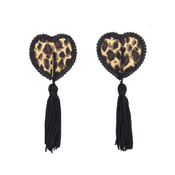 Flitteres mellbimbó dísz, szív alakú, leopárd mintás
