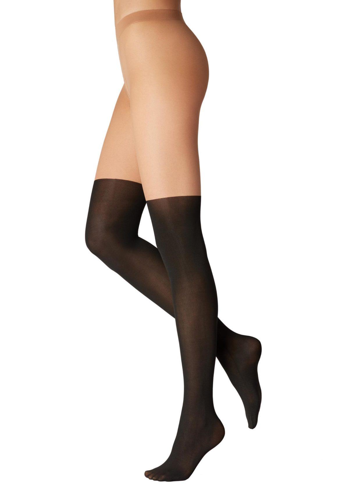 Calzedonia, Longuette harisnyanadrág, natúr-fekete,