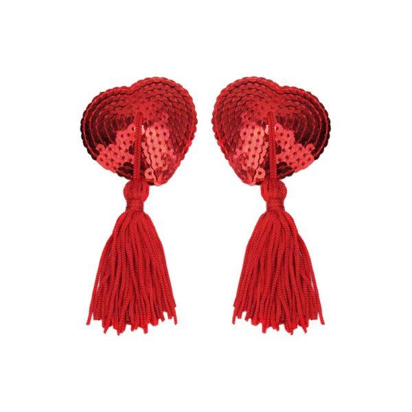 Flitteres piros mellbimbó dísz, szív alakú