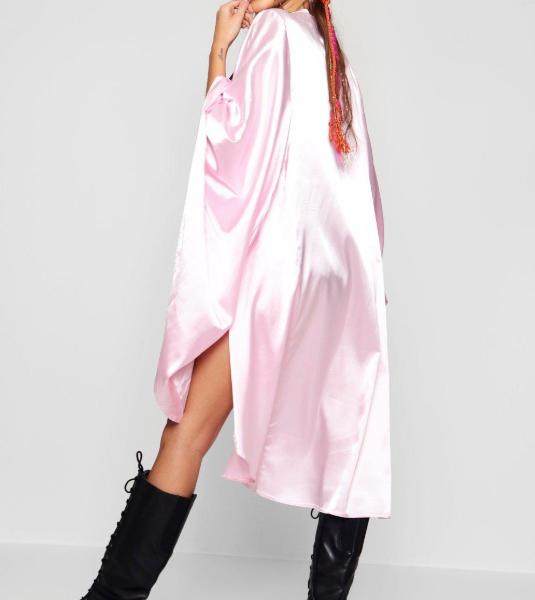 pink szatén kimono